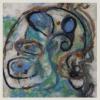 Blauer Ammonit - Filztechnik 20 x 20 cm